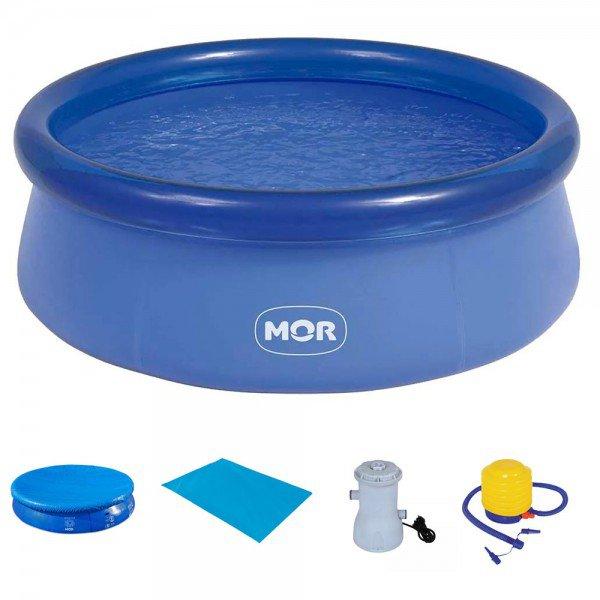 kit piscina2400 capa forro filtro inflador