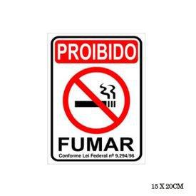 placa proibido fumar 15 20 cm