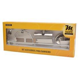 kit acessorio para banheiro 5 pecas cromado marte metais 39090