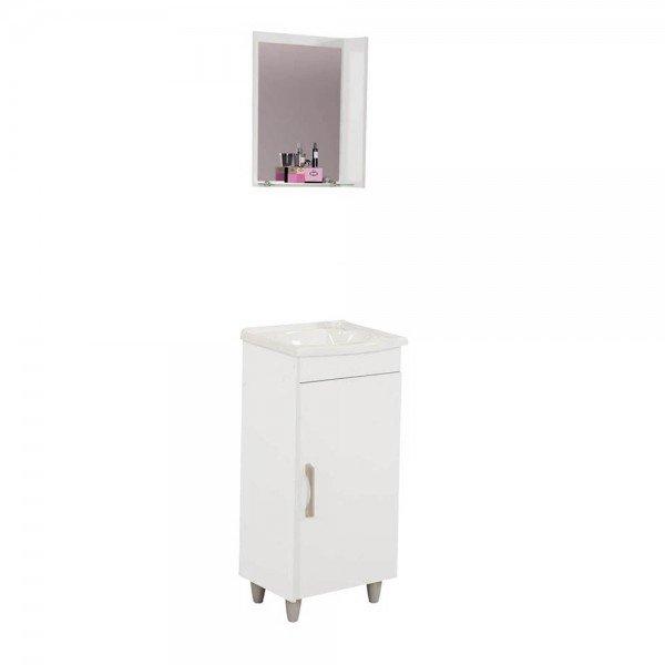 armario para banheiro veneza branco com pes uma porta espelho pia rorato