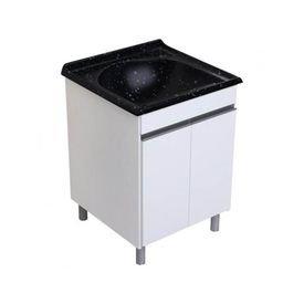 armario para lavanderia amelia branco pedra preta com pes duas porta tanque rorato