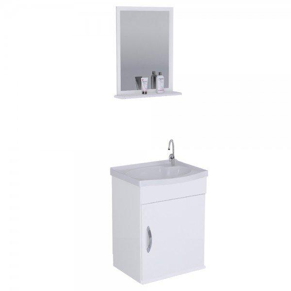 armario para banheiro branco siena aereo com pia e espelho 1 porta aj rorato