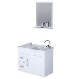 armario para banheiro branco siena aereo com pia e espelho 1 porta e 2 gavetas 3