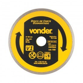 disco de corte diamantado continuo corte refrigerado 180mm v1 vonder 9346
