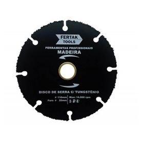 disco de serra com tungstenio 110 x 20mm para madeira fertak 12254