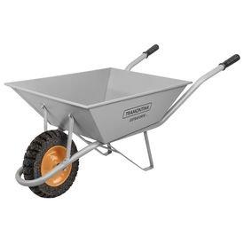 carrinho de mao com cacamba extraforte cinza 65l com braco metalico e pneu macico tramontina 9057