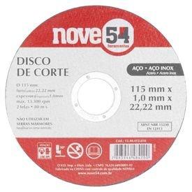 disco de corte inox 115 mm x 1 0 mm x 22 23 mm dcn 954 nove54 11283