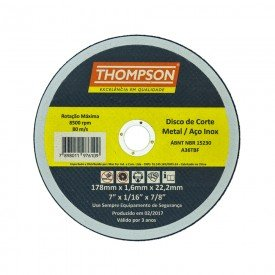 disco de corte inox 4 1 2 x 1 0 x 22 mm thompson 8656