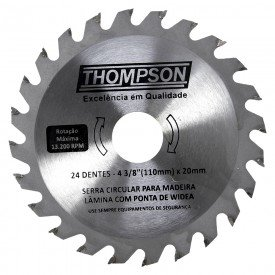 lamina de serra circular 4 3 8 24 dentes 110 mm x 20 mm thompson 5938