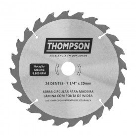 lamina de serra circular para madeira 7 1 4 24 dentes 185 mm x 20 mm thompson 5939