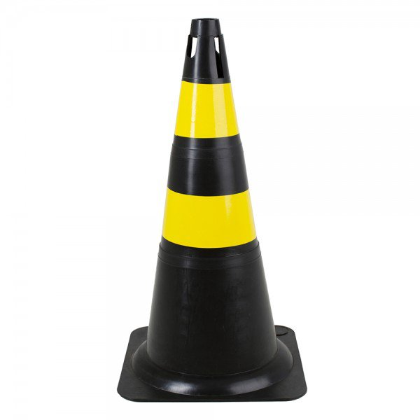 cone de pvc rigido 70cm preto e amarelo protecao uv deltaplus 6293