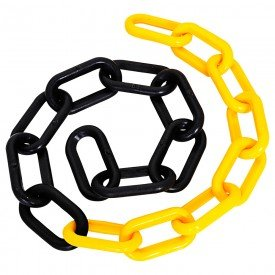 corrente plastica preto e amarelo elo 37 x 20 x 5 mm com 50 metros deltaplus 2294