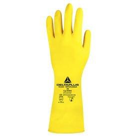 luva de latex amarela com forro tamanho deltaplus 2