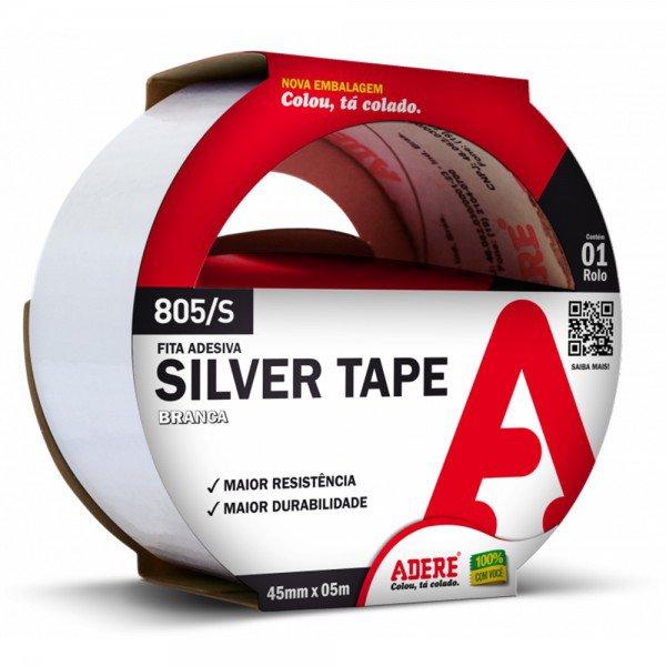 fita adesiva silver tape branca 45 mm x 05 m 805 s adere 12668