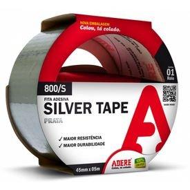 fita adesiva silver tape prata 45 mm x 05 m 800 s adere 5148