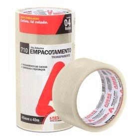 fita adesiva transparente para empacotamento 45 mm x 40 m com 04 pecas adere 12242 1