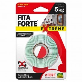 fita dupla face forte extreme branca 24 mm x 1 5 m adere 12595