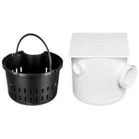 caixa de gordura sifonada branca quadrada com tampa e cesto 250 x 250 x 75 100 mm herc 9331