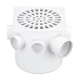 caixa sifonada branca com grelha quadrada 150 mm x 150 mm x 50 mm herc 2123