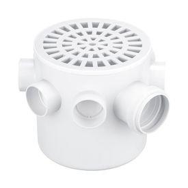 caixa sifonada branca com grelha redonda 150 mm x 150 mm x 50 mm herc 376