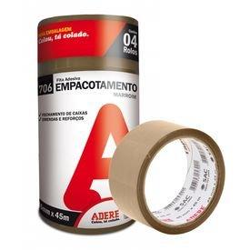 5142 1 fita adesiva marrom para empacotamento 45 mm x 45 m com 04 pecas adere