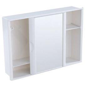 12379 armario plastico versatil com porta de correr e espelho sobrepor ou embutir branco a21 astra