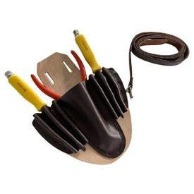 4275 cinto para eletricista em couro com cinta e sete divisorias ks